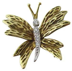 Tiffany & Co. TIFFANY & CO. 18K YELLOW GOLD DIAMOND BUTTERFLY PIN VINTAGE COLLECTORS BROOCH