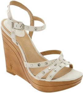 Frye Bridget Studded Wedge Sandals Leather 9m White Platforms