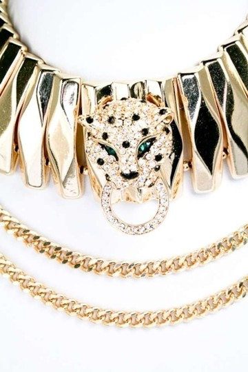 Unknown Crystal Leopard Gold Tone Choker Maxi Collar Necklace Set
