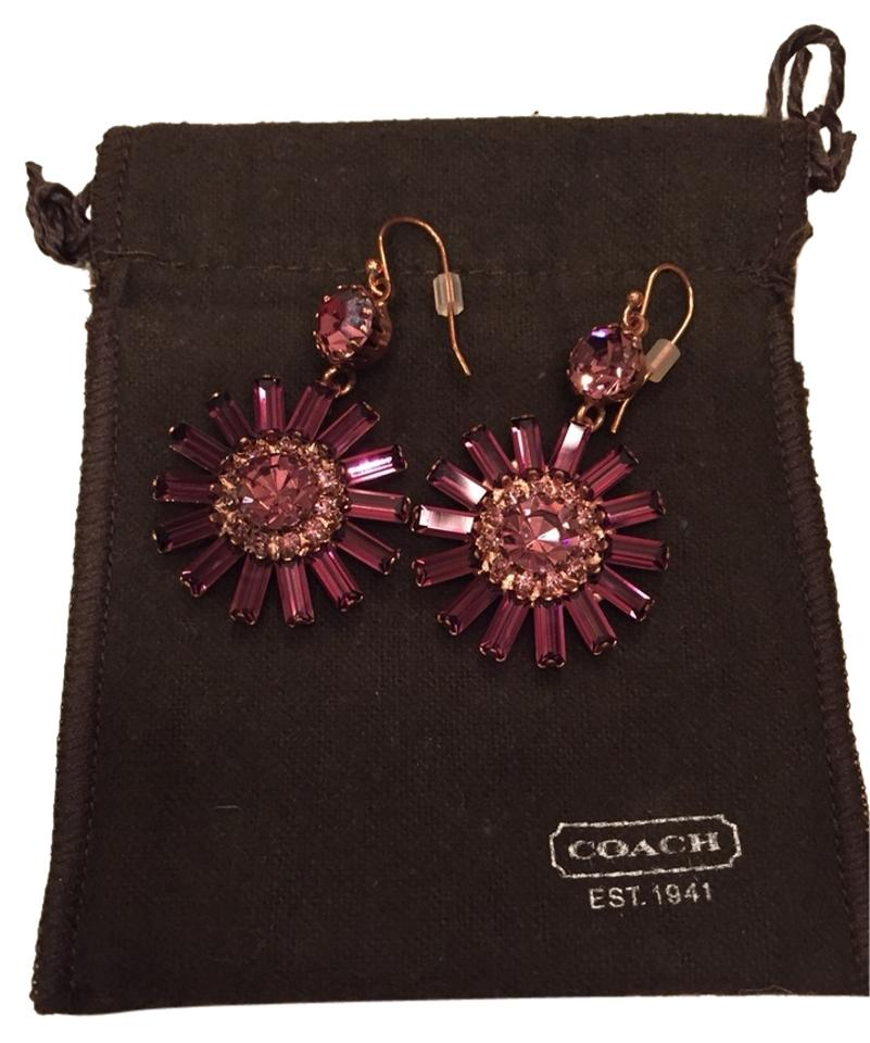 Coach Rose Gold And Purple Earrings