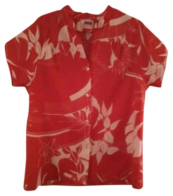 Other Tropical Floral Button Down Shirt Red/White Floral