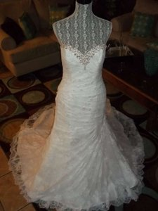 Alfred Angelo Ivory with Silver Lace Juliet 2396 Vintage Wedding Dress Size 12 (L)