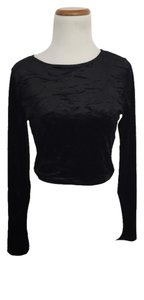 Divided by H&M Velvet Long Sleeve Crop Top Black