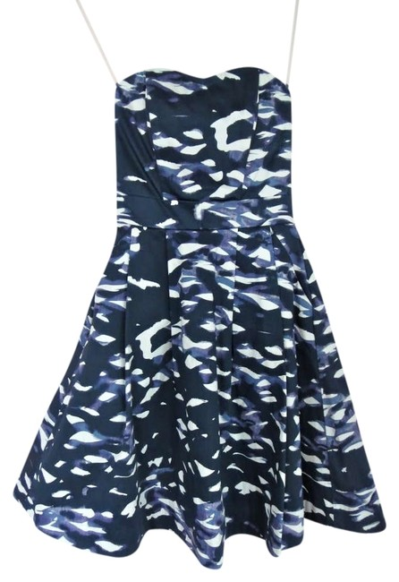 H&M short dress Blue Pretty Sundress Spring Summer Strapless New Nautical Strapless Never Worn White Painting Art Party Party Size 2 on Tradesy