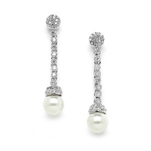 Mariell Silver/Ivory Brillant Cz Dangle with Soft Pearls 4264e Earrings