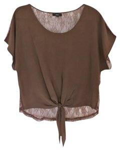 LF Lace Silk Casual Top Brown