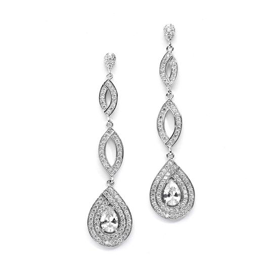 Mariell Silver Micro Pave Cubic Zirconia Teardrop 4092e-s Earrings