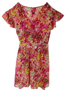 Target short dress Pink Floral Wrap Pretty Girly Fun Flirty Bright Chiffon on Tradesy