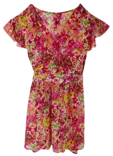 Preload https://img-static.tradesy.com/item/333646/target-pink-floral-wrap-pretty-girly-fun-flirty-bright-chiffon-above-knee-short-casual-dress-size-4-0-0-650-650.jpg