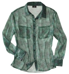 Mossimo Supply Co. Print Sheer Blouse Printed Dot Chiffon Work Career Casual Button Down Shirt Teal, Blue / Green, Black, White