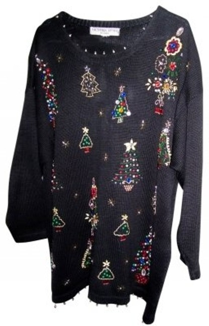 Preload https://img-static.tradesy.com/item/33367/victoria-jones-woman-black-beaded-christmas-sweaterpullover-size-24-plus-2x-0-0-650-650.jpg