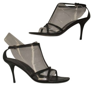Jil Sander Leather Strappy Designer Black Sandals