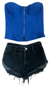 Urban Outfitters Royal Corset Zip Up Top Blue