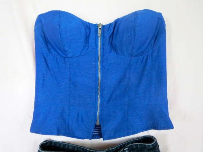 Urban Outfitters Royal Corset Zip Up Zip Fun Sexy Fitters Strapless Sleveless Fitted Top Blue