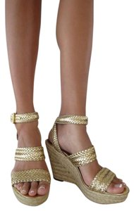 MRKT Espadrilles Cute Sexy Fun Flirty Summer Spring Braided Leather Vegan Leather Hemp Gold Wedges