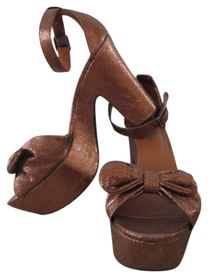e181f4d1d093 H M Bow Heels Cute Girly Neutral Pretty Vintage Vintage Inspired Brown  Platforms Image 0 ...