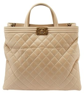 Chanel Le Boy Large Quilted Tote in Beige