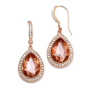 Mariell Rose Gold Top Selling Prom Or Bridesmaids Teardrop with Crystal Accents 4247e-rg Earrings