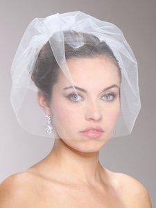 White Ivory Champagne Blush Ultra Modern Blusher Veil Hair Accessory