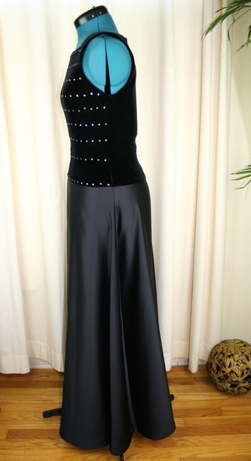 Tadashi Shoji Dropped Waist Velvet Stretch Bodice Rhinestone Studs Full Length Dress