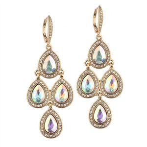 Mariell Popular Gold Pave Teardrops Chandelier Earrings For Weddings Or Prom 4291e-ab-g