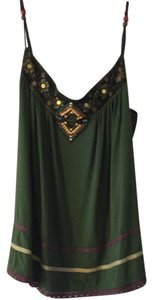 Hazel Fun Style Embellished Summer Beaded Top Green
