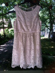 Adrianna Papell Labeled As Ivory But Looks White Lace Overlay with Sheer Backing Elegant Perfect For A Small Intimate Casual Wedding Dress Size 14 (L)