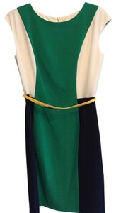 short dress color blocked white, green, navy New Without Tags on Tradesy