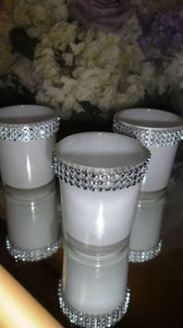White 3 Pcs. Holders with Bling Votive/Candle