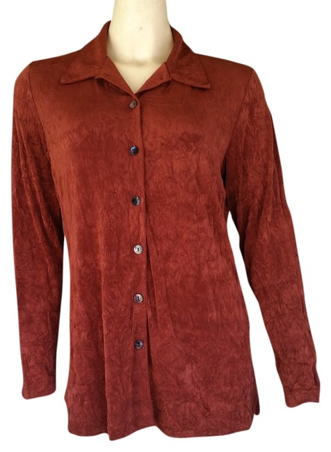 Item - Rust Slinky Travel Knit Button Front M Tunic Size 8 (M)