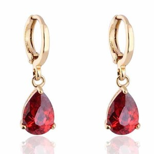 18k Gold Filled Red Garnet Cz Stone Pierced Dangle Earrings