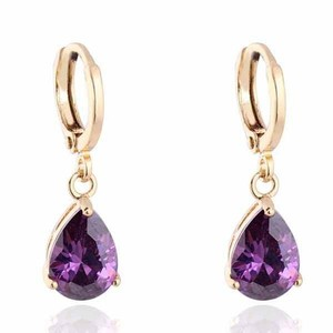 18k Gold Filled Dangle Earring Purple Cz Stone Pierced Dangle Earrings