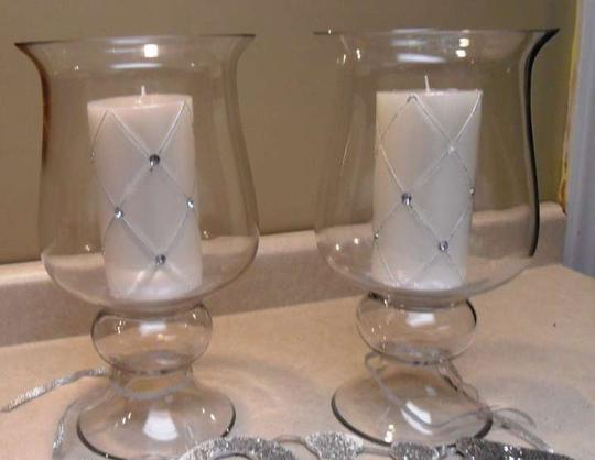 Clear Two Large Candle Holders Or Vases Tableware
