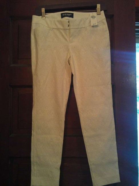 Old Navy Skinny Pants White on White floral design