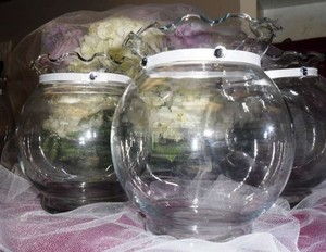 Clear Fishbowl Candle Holders Or Vases 17 Pcs. Reception Decoration