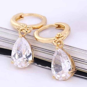 18k Gold Filled Dangle Earring Clear Cubic Zircon Stone