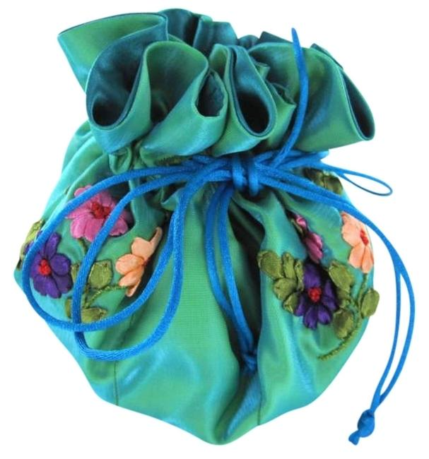 Item - Blue Handmade Jewelry Pouch 8 Pockets Organizer Travel Purse Bag