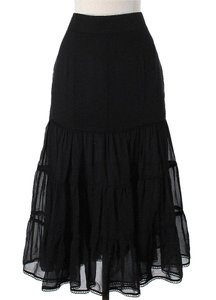 CoSTUME NATIONAL Tiered Silk Maxi Skirt Black Silk