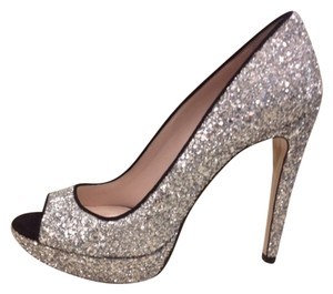 Miu Miu Wedding Special Occasion Silver, Glitter Pumps
