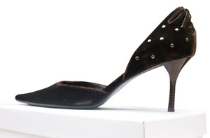 Calvin Klein Velvet Pointed Studded Espresso Pumps