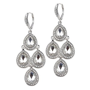 Mariell Silver Popular Pave Teardrops Chandelier For Or Prom 4291e-cr-s Earrings
