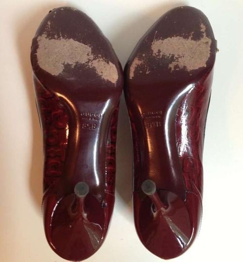 Gucci Wine Red Embossed Patent Leather Pumps