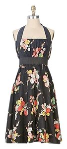 Anthropologie short dress Black Floral Halter Summer on Tradesy