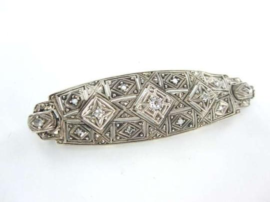 Other STERLING SILVER 11 DIAMOND .50 CARAT VINTAGE PIN BROOCH ANTIQUE 3.4DWT JEWELRY