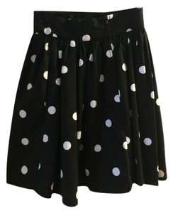 H&M High-waist Polka Dot Skirt Black