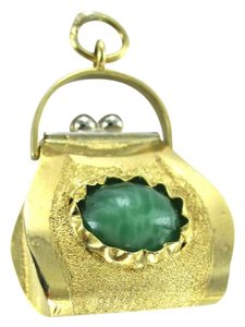 Other 18KT YELLOW GOLD PENDANT CHARM PURSE BAG CHLORASTROLITE POUCH VINTAGE 3.0DWT