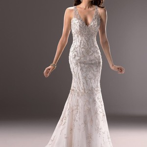 Maggie Sottero Ivory/Silver Blakely Sexy Wedding Dress Size 6 (S)