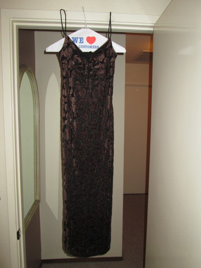 Jessica McClintock Black and Brown Polyester with Flocked Velvet In Design Formal Bridesmaid/Mob Dress Size 8 (M)