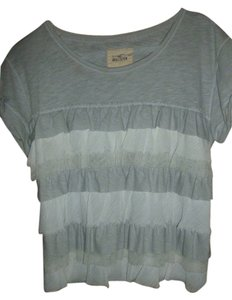 Hollister Ruffle Tier Abercrombie Crop Top Gray