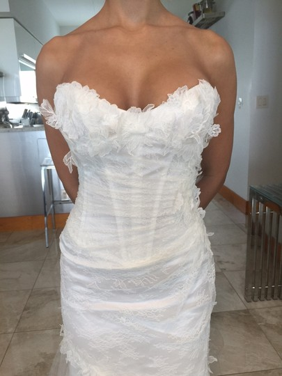Cymbeline Paris White French Lace Fiona Wedding Dress Size 2 (XS)